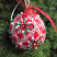 This Styrofoam sweater ball from Dollar Tree just seemed too plain, so we dressed it up with Kreinik Iron-on Threads