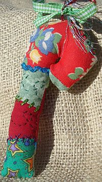 Crazy Quilt Candy Cane Ornament
