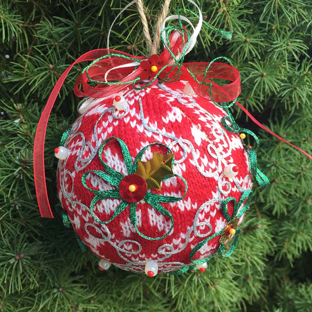 Dollar-store Ball Ornament Upgrade