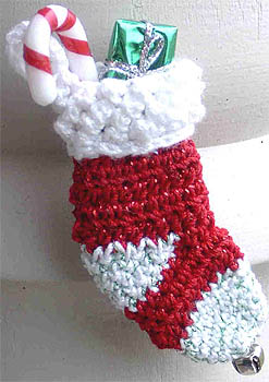 Christmas Stocking Crocheted Pin