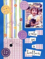 Cute as a Button Scrapbook Page