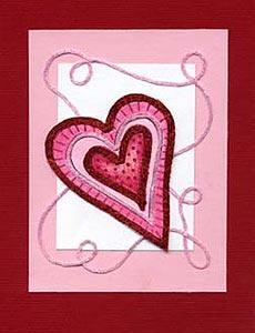 Pink Paper Heart Card