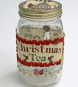 """Quilted"" Christmas Treat Jar"