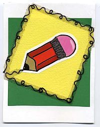 Back To School Cards:  Beady Pencil