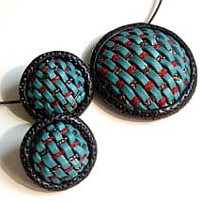 Woven Polymer Clay Pendant and Earrings