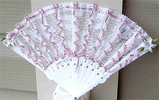 White Lace Fan with Iron-on Ribbon