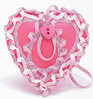 Pink Wood Valentine Heart with Iron-on Ribbon