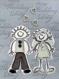 Rubber-Stamped Wedding Card