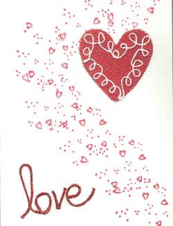 Rubber-stamped card:  Valentine Love