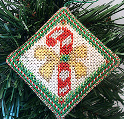 Candy Cane Needlepoint Ornament