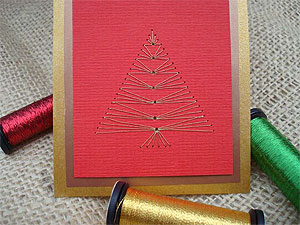 Stitched Christmas Tree Card Embroidery on cards