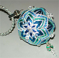 Winter Snowball Temari Pendant